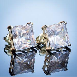 Large Princess Cut Square CZ Stud Earrings